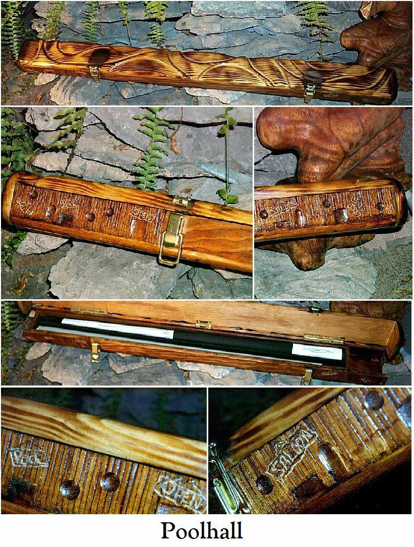 Unique Custom Made Hand Carved Wood Pool Cue Cases